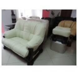 Шкіряний комплект меблів на дубі SOFIYA 3+1+1