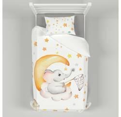 Дитяча постільна білизна 110х140 см з авторським малюнком Слоник