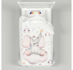 Дитяча постільна білизна 150х200 см з авторським малюнком Слоник