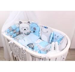 Комплект в овальне ліжечко з іграшками і бамбонами у Блакитному кольорі