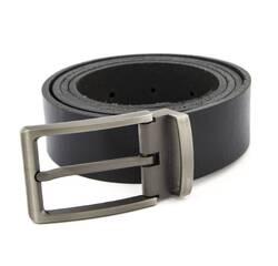 Чоловічий шкіряний ремінь Real Leather 3.5 см для брюк чорний 110-130 см   (RL109975)