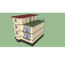 Малоквартирный дом. 3 этажа. Размер 11,7 на 11,2 метра. 8 квартир. Мансарда. Монолитный. Утеплен. Отличная шумоизоляция. Стоимость 118550 у.е.. Гарантия 90 лет.