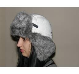 Хутряна шапка вушанка (біла з сірим хутром) 47b3caad3088f