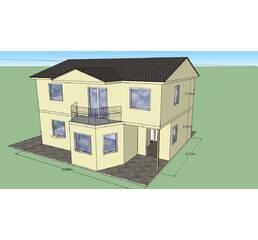Дом 175,2 м.кв. общей площади. Размер 9,7 на 10,6 метра с эркером. 2 этажа. 4 спальни.