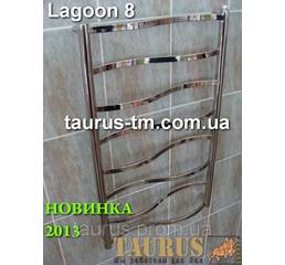 Купить полотенцесушитель Lagoon 8/500 для ванной комнаты; перемычка прямоугольная 20х10 изогнута волной