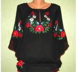 женская вышиванка на черном шифоне