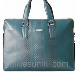 Чоловіча сумка портфель Kabinias шкіряний темно - блакитного кольору