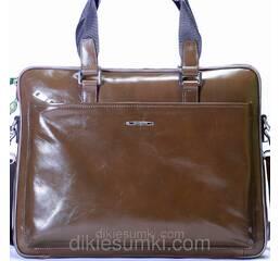 Чоловіча сумка портфель Kabinias шкіра кольору хакі