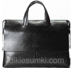 Чоловічий портфель двосторонній на плече SF чорна