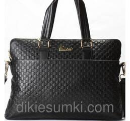Чоловіча сумка портфель GUCCI шкіряна чорного кольору