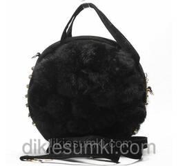 Женская сумка черная с мехом кролика