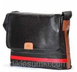 Чоловіча сумка портфель Gucci чорна з червоною смугою