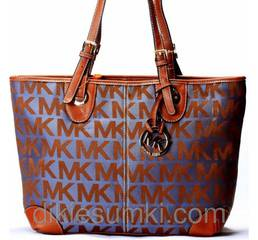 Женская сумка Michael Kors  синий с коричневым уголками