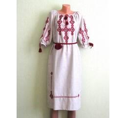Льяное платье вышитое ручной работы
