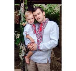 Комплект вишиванок для батька і сина з білого льону з червоно-чорною вишивкою Модель: М18/2-212 ДМ18/2-212