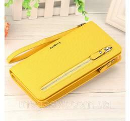 Клатч для женщин Baellerry Italia Classic (портмоне, кошелек) Желтый и сережки в подарок