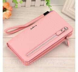 Клатч женский светло-розовый + сережки в подарок (портмоне, кошелек  Baellerry Italia Classic)