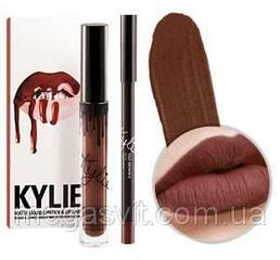Матовая помада + карандаш для губ Kylie Matte Liquid Lipstick & Lip liner TRUE BROWN K