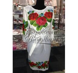 """Вышитое платье """"Красные розы"""" ПЛ 011"""