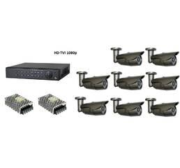 Комплект цифрового видеонаблюдения HD-TVI 1080p на 8 внешних камер