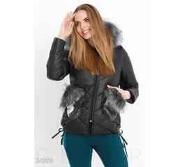 Зимняя куртка пайетки (черно- серый)