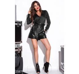 Трендовые кожаные шорты (черный)