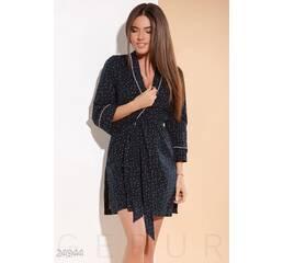 Теплый женский халат (темно-синий)