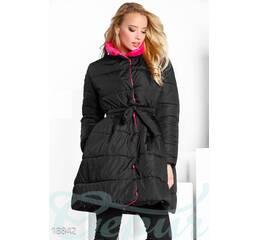 Объемное приталенное пальто (черно-розовый)
