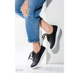Женские кожаные кеды (черный)