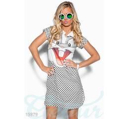 """Платье принт """"кролик"""" (чёрно-белый, принт - цветной)"""