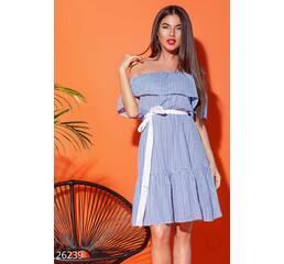 Открытое летнее платье (сине-белый)