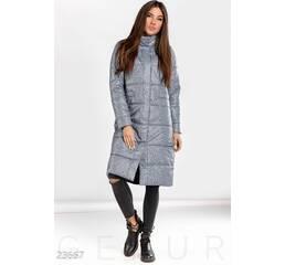 Теплое пальто меланж (синий меланж)