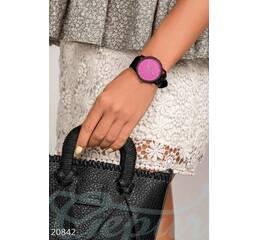 Женские наручные часы (черно- малиновый)