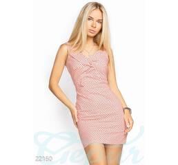 Облегающее хлопковое платье (персиково-черный)