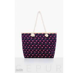 Текстильная пляжная сумка (сине- розовый)