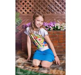 Детская голубая юбка (голубой, пояс белый)