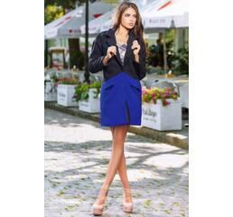 Двухцветное кашемировое пальто с карманами (черный, синий)