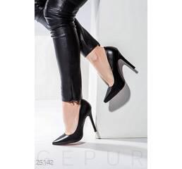 Кожаные туфли-лодочки (черный)