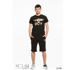 Мужской спортивный летний костюм шорты Накат черный принт