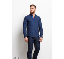 Мужская рубашка 16548 темный синий