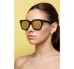 Солнцезащитные очки 14502 черный зеркало желтый