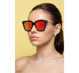 Солнцезащитные очки 14482 черный золото зеркало оранжевый