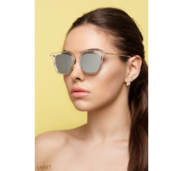 Солнцезащитные очки 14407 прозрачный золото зеркало серый