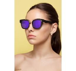 Солнцезащитные очки 14469 черный золото зеркало фиолет
