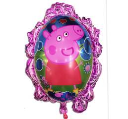 Фольгированный воздушный шарик зеркало свинка Пеппа 70 х 59 см.