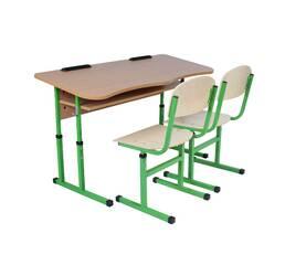 Комплект стол ученический 2-местный с полкой антисколиозных, №4-6 + стул Т-образный, №4-6