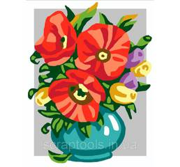 Набор для вишивки Collection D'Art Stamped Needlepoint Kit 20x25cm Flowers In Bowl