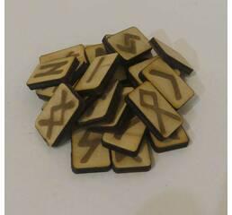 Руны деревянные для гадания 25 штук из березы с инструкцией в мешочке