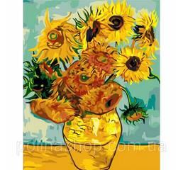 "Картина по номерам. Букеты ""Подсолнухи Ван Гог"" 40*50см *"