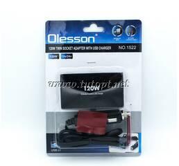 Двойник в прикуриватель Olesson + USB + Индикация + USB вход DC 5V - 500 mA 1511